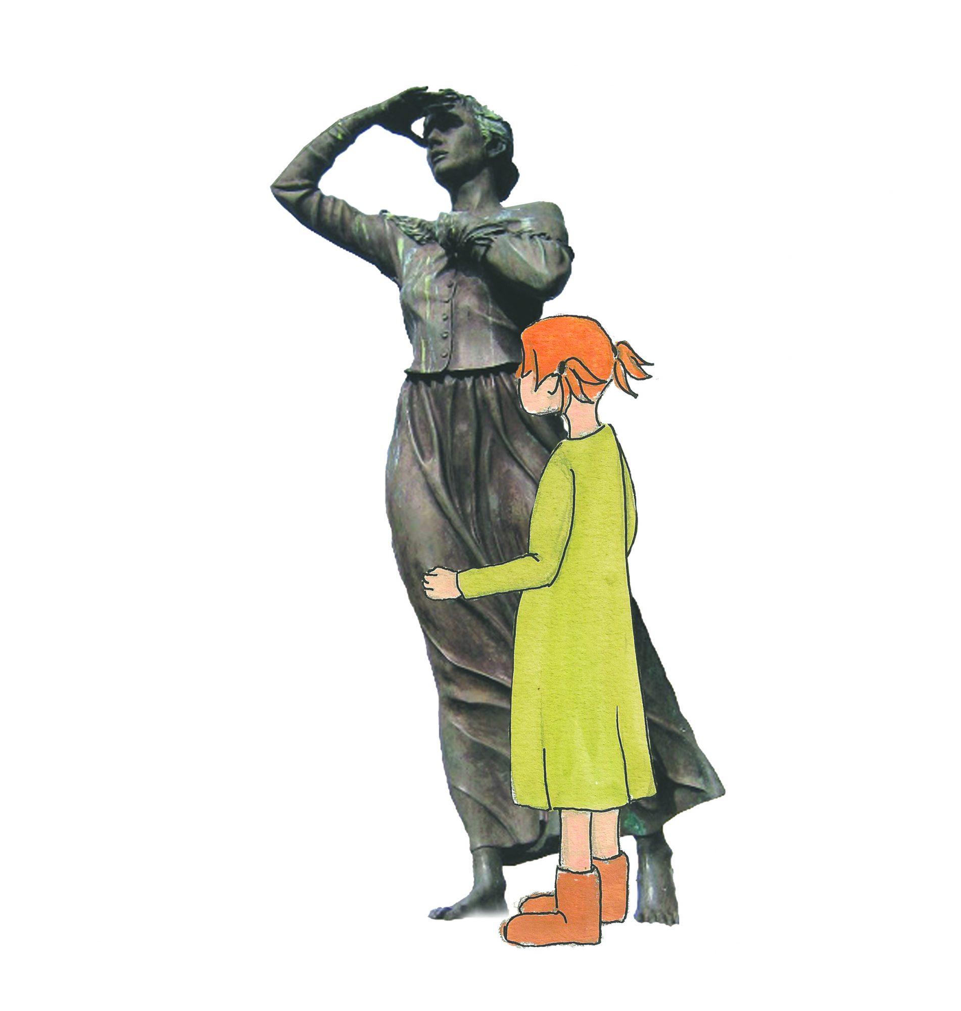 mot-havet-statue-statue-alesund-guide-borgny-voice