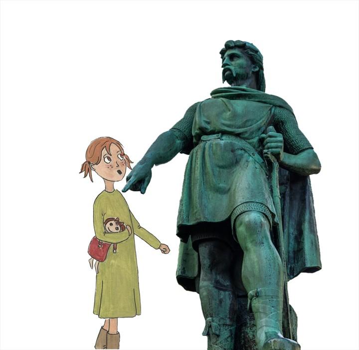 Borgny-Statue-Rollo-Historie-Barn-Formidling-Audioguide-Lydguide