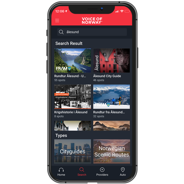 Here you find available audioguide routes for download, sorted so that the closest routes appear first. After you have downloaded an audioguide route, your device will not consume any data while in use.