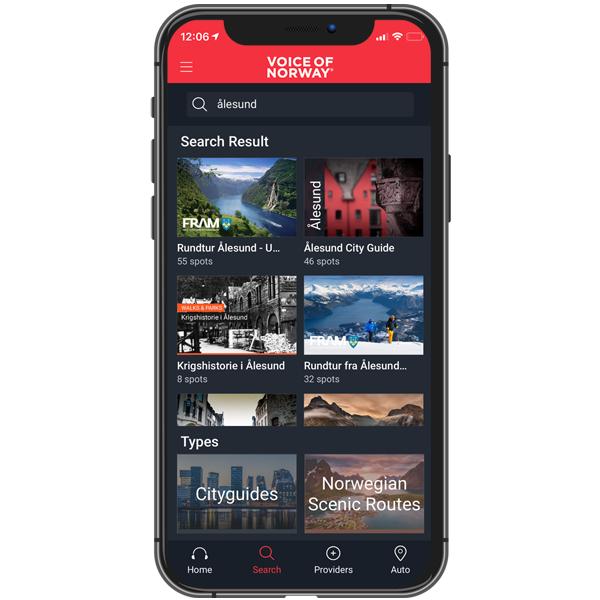 Her vil du finne tilgjengelige nedlastbare audioguider sortert etter rutene nærmest deg. Laster du ned en audioguide, kan du sette telefonen i flymodus om ønskelig, og fortsatt bruke guiden.