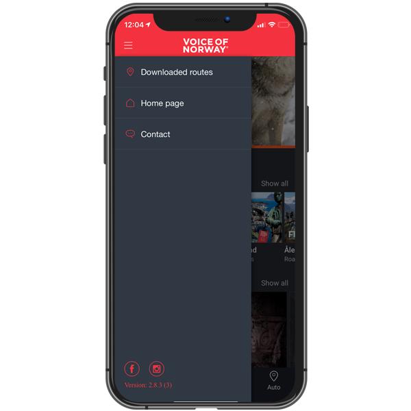 Meny med tilgang til audiogude-ruter du har lastet ned, sluttbruker-support, Voice of Norway hjemmeside,  og tutorial.