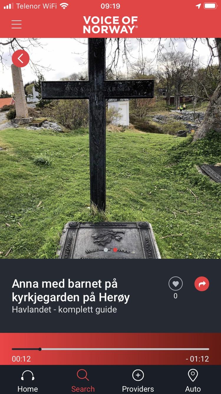 Voice-Of-Norway-Anna-med-barnet-Heroy-kirkegard-audiovisuell-reiseguide-turistguide-app
