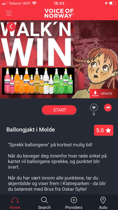 VoiceOfNorway ballongjakt guide app Walknwin
