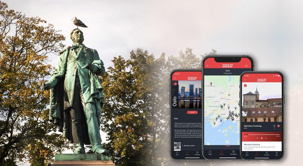 Brynjulf Bergsliens statue av Henrik Wergeland i Spikersuppa Voice Of Norway Lydguide Reiseguide Turistguide Audioguide Oslo 2000x1335