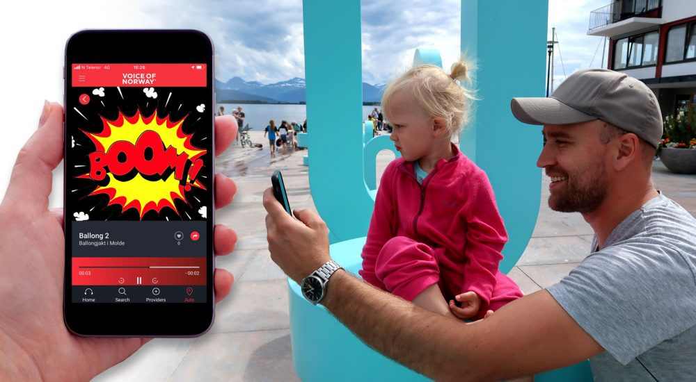 VoiceOfNorway ballongjakt guide app audioguide reiseapp reiseguide turistguide barn ungdom familie Molde w